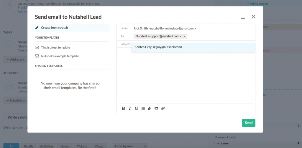 send and track emails in nutshell crm