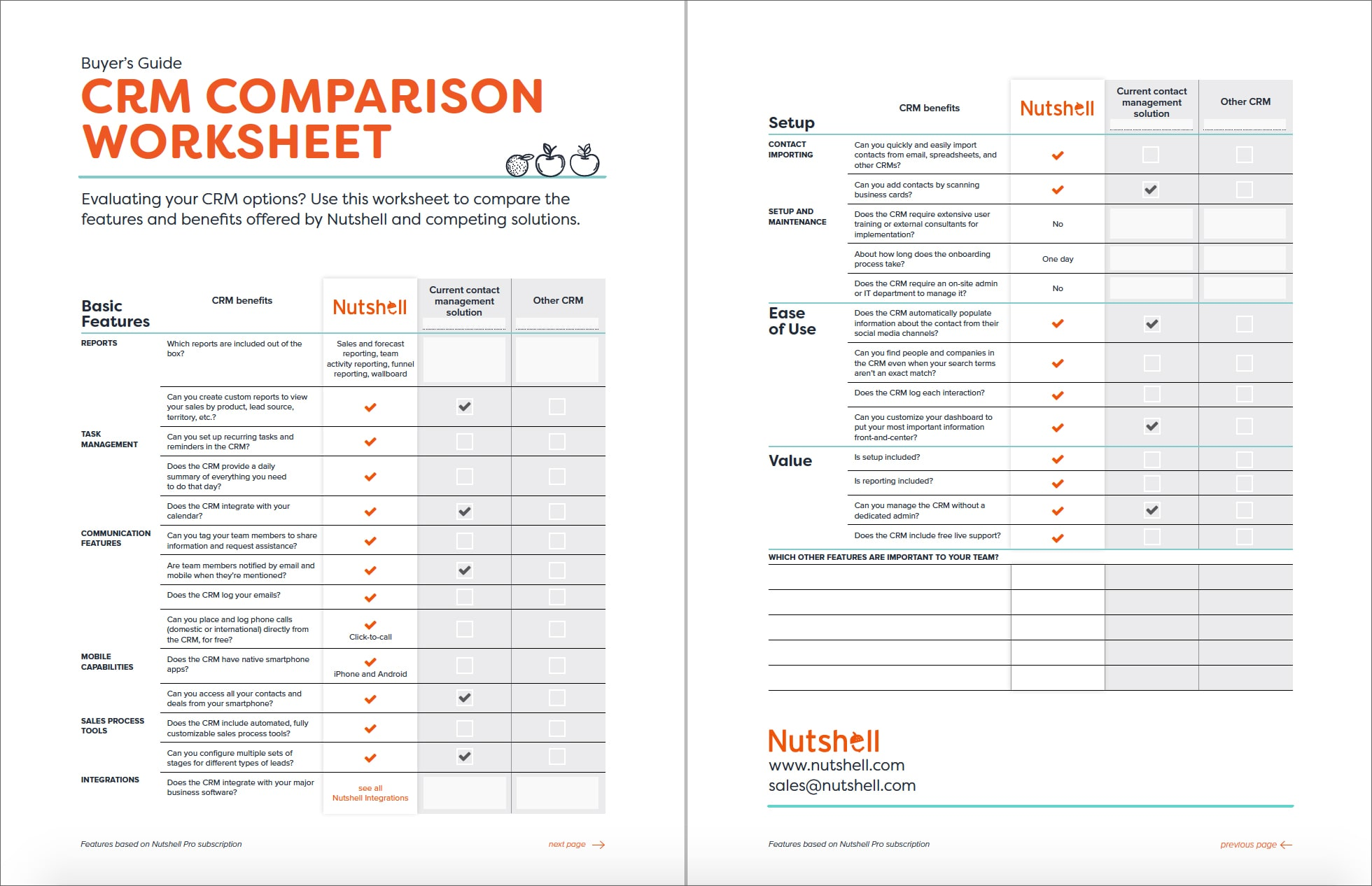 CRM Comparison Worksheet Nutshell – Crm Worksheet
