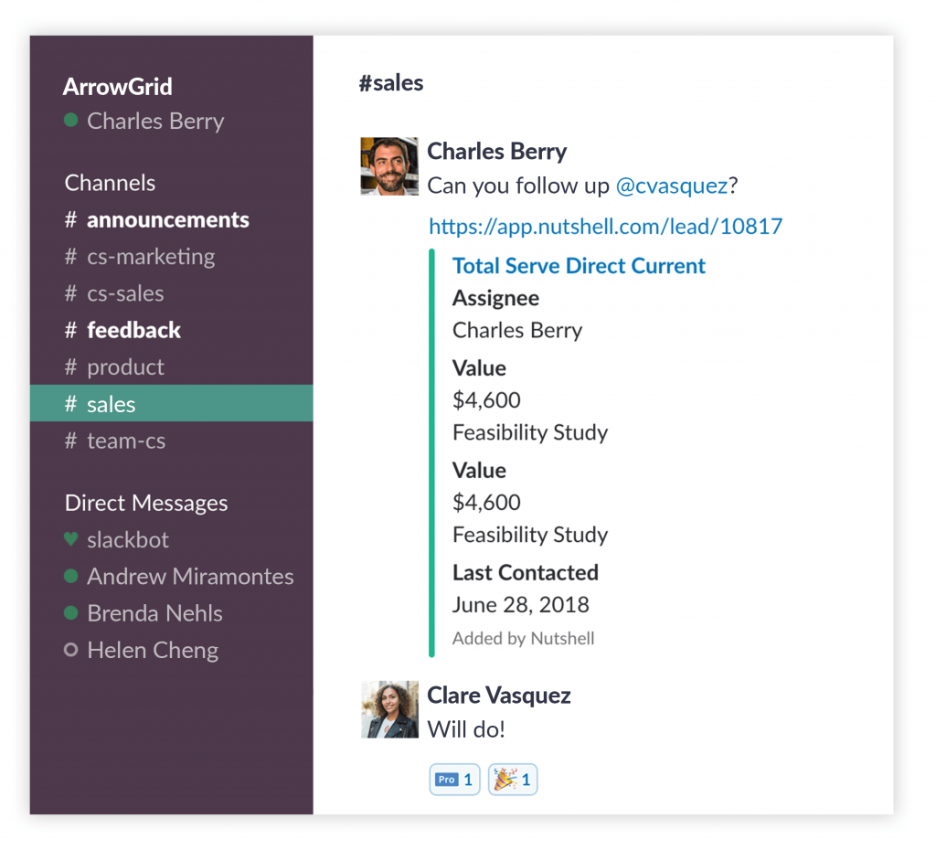 nutshell slack integration customer details unfurl