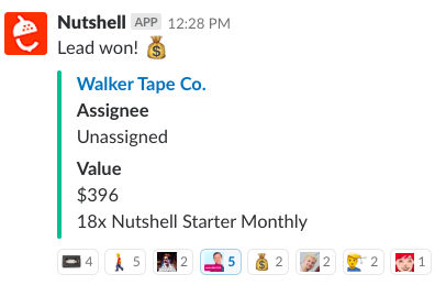 nutshell crm lead won slack notification