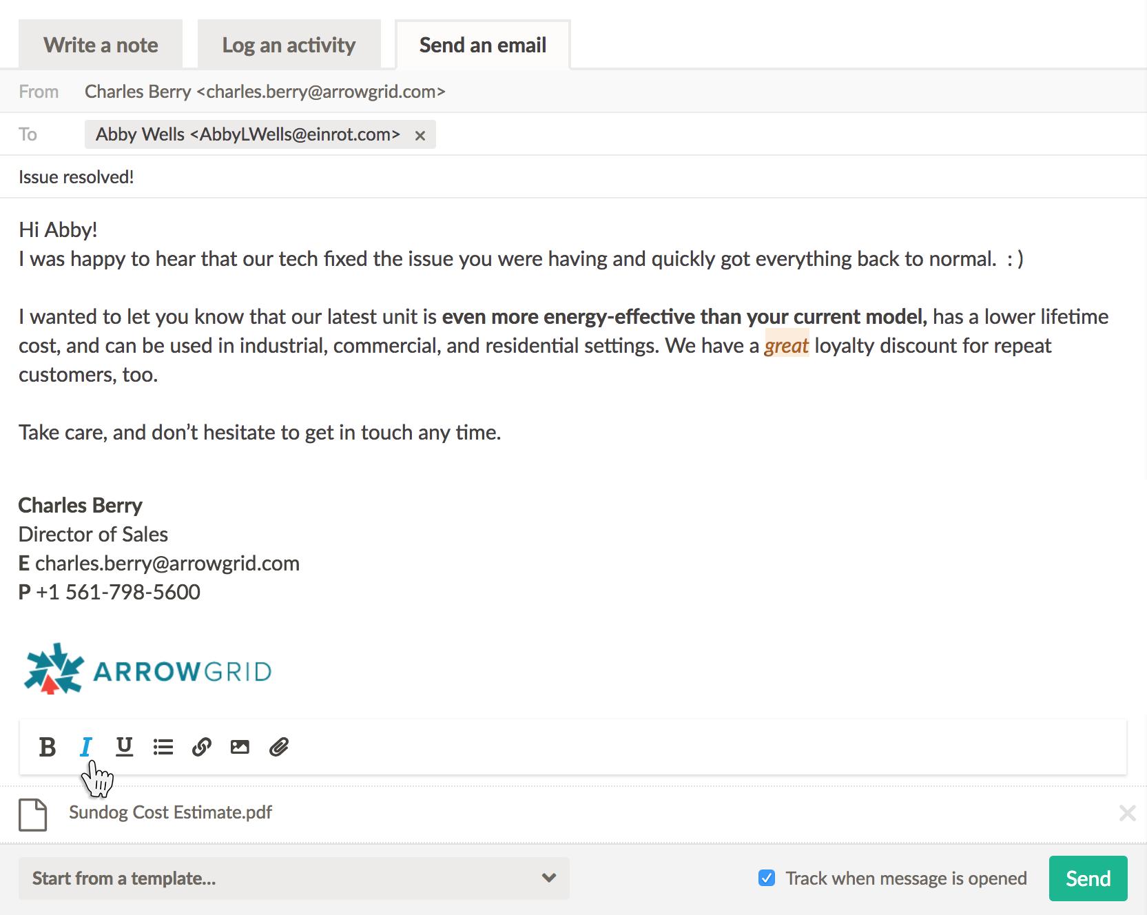 Nutshell wysiwyg email composer