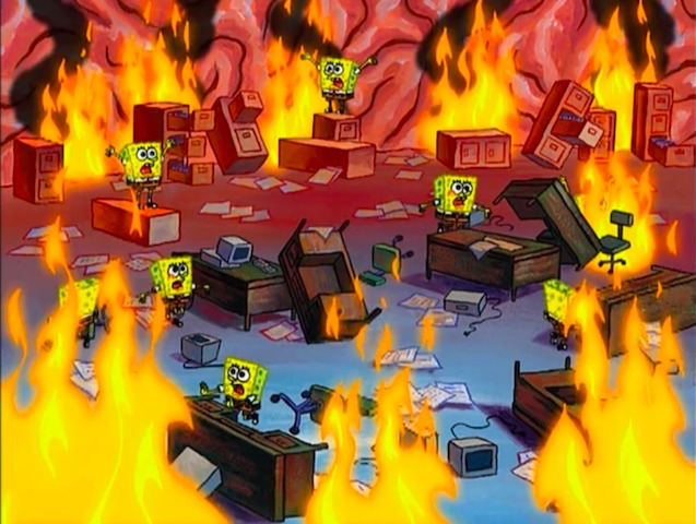 everything is on fire spongebob meme nutshell customer success madi togrul