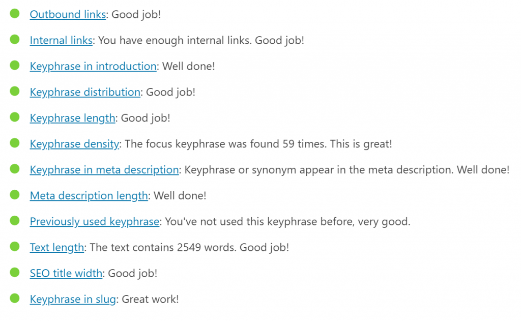A list of Yoast's SEO feedback for this post's copy.