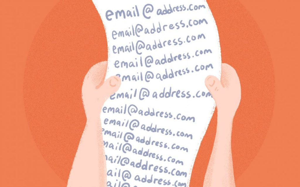 A list of identical marketing email addresses.
