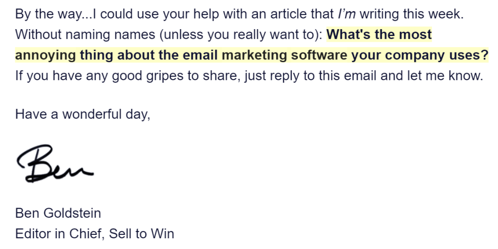 A screenshot of a marketing email from Ben Goldstein at Sell to Win