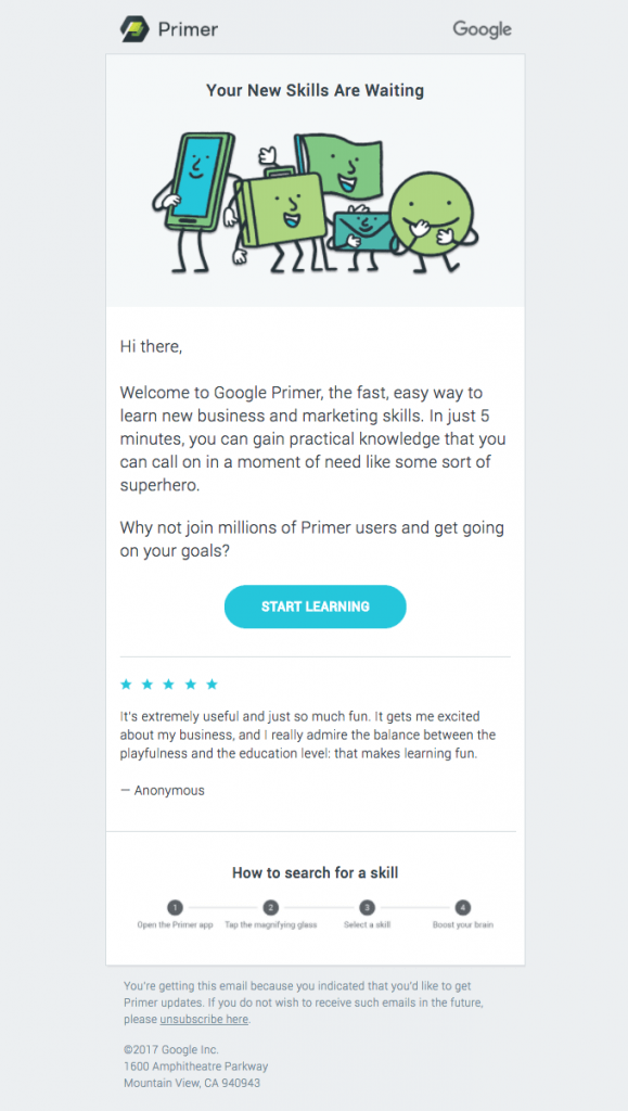 google primer welcome email