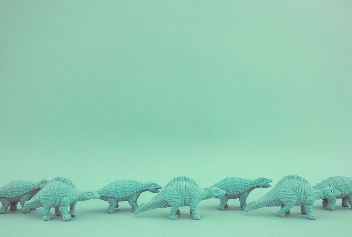 A herd of green dinosaurs. Don't worry, they're only toys.