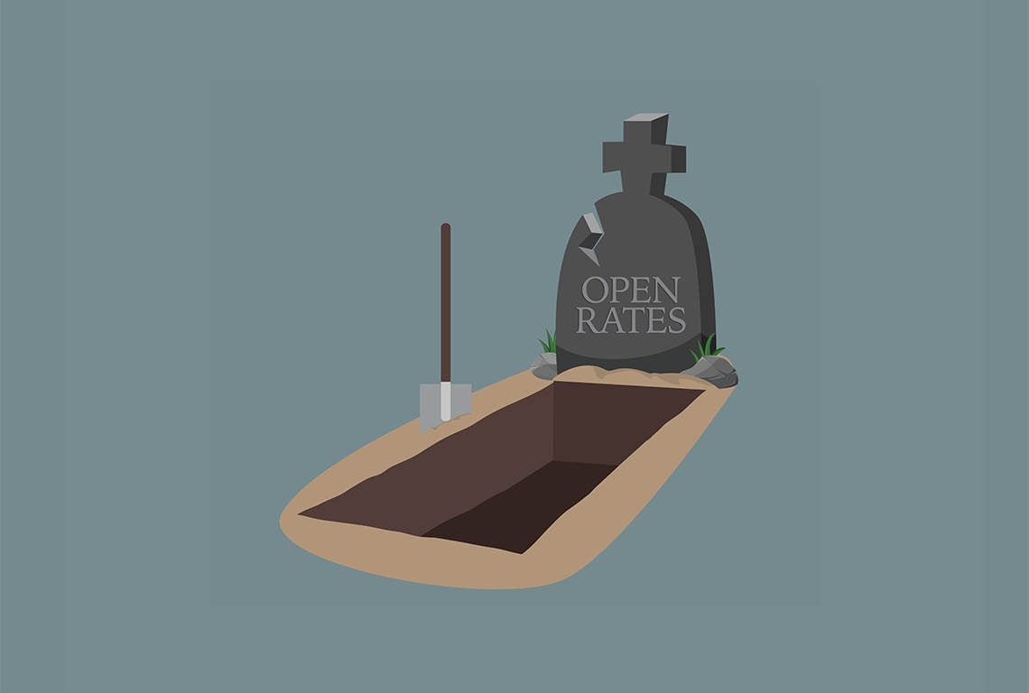 """A gravestone that says """"open rates"""" on it."""