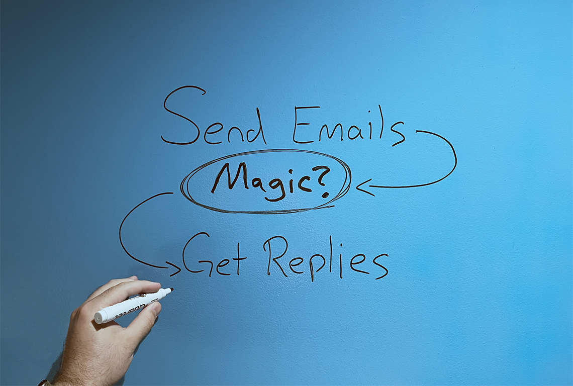 """the words """"send emails -> magic? -> get replies"""" written on a dry-erase wall."""